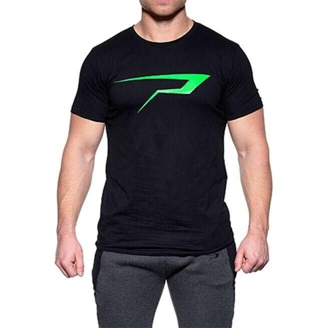 Fitnesstøj, Emerald Logo Tee (Black/Green), Power Addict
