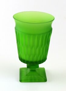 Matte/Frosted Green, Square Base Tapered Ribbed Decorative Glass Vase