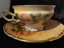 Unknown Teacup & Saucer, Large Pink Roses on Green, Handpainted