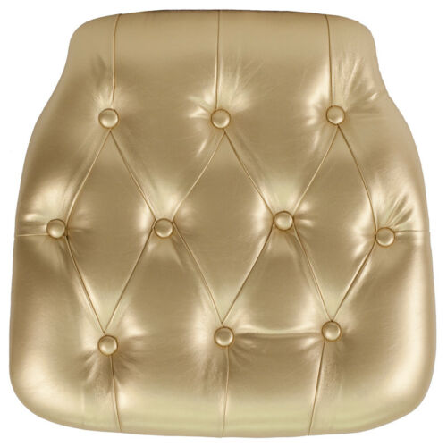 100 PACK Hard Gold Tufted Vinyl Chiavari Chair Seat Cushion for Resin Chair