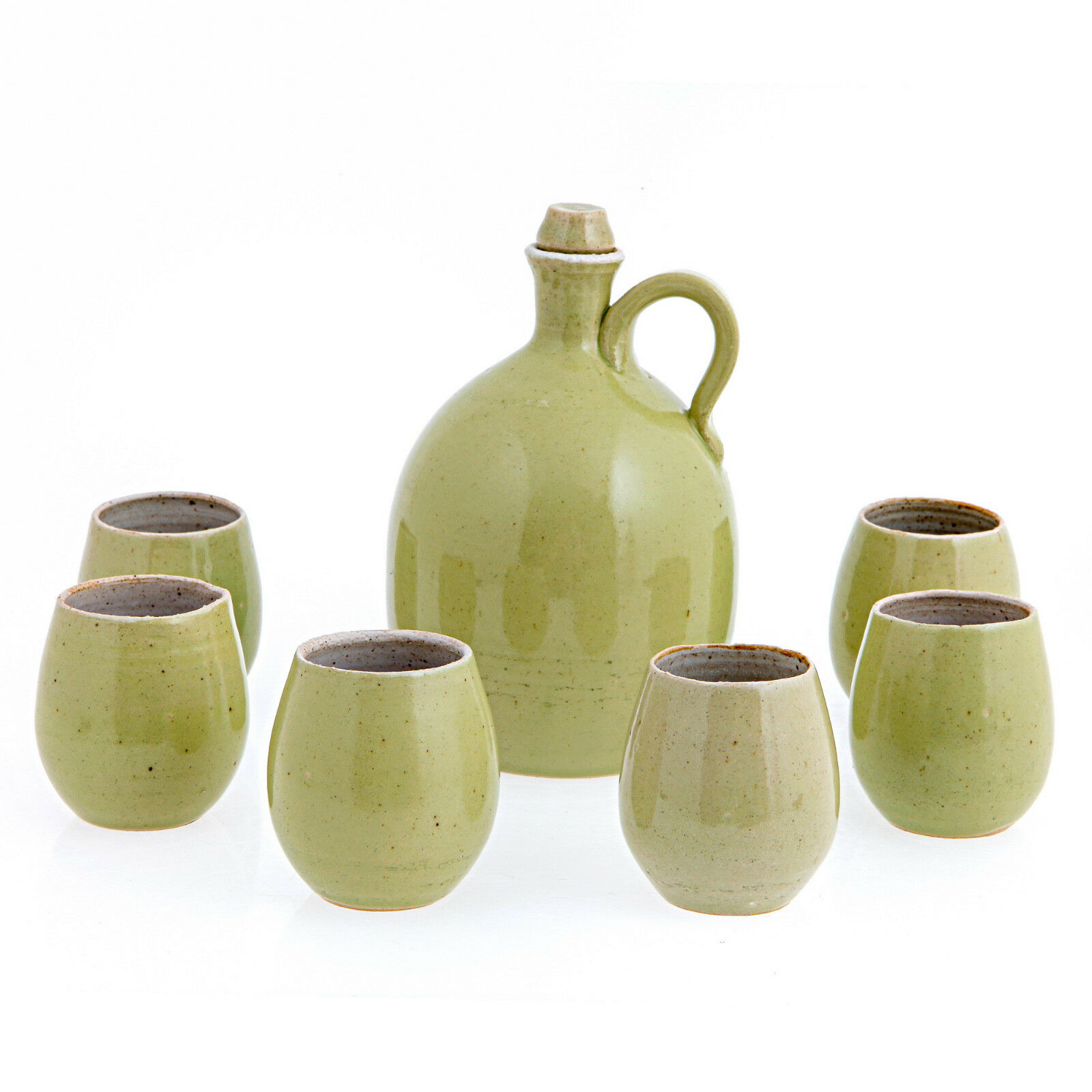 Liquor Decanter and Glasses Set - 7 Pcs Ceramic Drink Serving Set - Olive vert