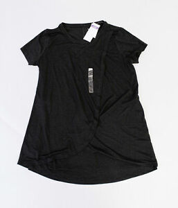 Motherhood-Maternity-Women-039-s-Short-Sleeve-Tiered-Nursing-Top-SH3-Black-Small-NWT
