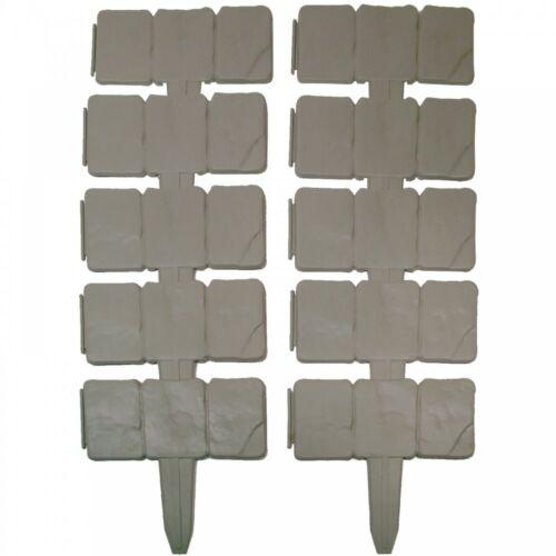 10 Pack Cobbled Stone Effect Lawn Plant Garden Plastic Edging Border Grey