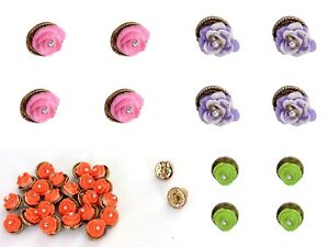 Sewing-Dress-Round-Crafting-Plastic-Shank-Floral-Design-Button-Indian-12-PCs-Set