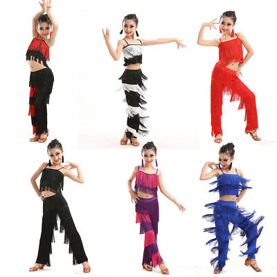 Kids Tassels Latin Dancewear Salsa Ballroom dance top dress cha-cha Costume gift