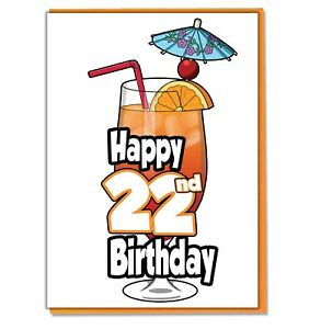 Image Is Loading Cocktail 22nd Birthday Card Ladies Mens Daughter Son