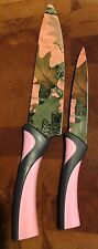 Pink Camouflage Chef & Paring Knife Set Camo Kitchen Utensil Knives Cutlery New
