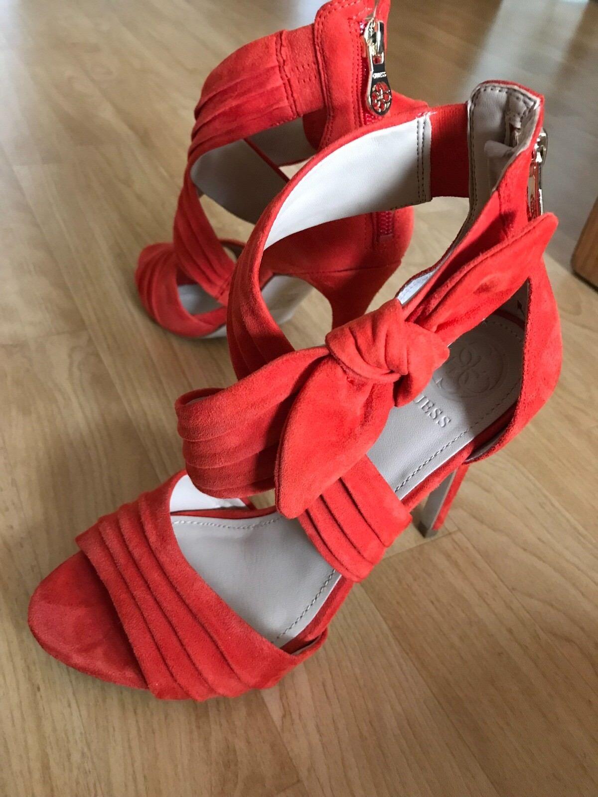 GUESS High Heels Pumps Sandalen, Größe: 36 Echt Leder, Rot, Modell 20