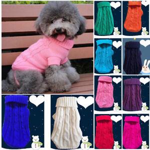 Pequeno-Mascota-Perro-Gato-punto-jersey-abrigo-invierno-sueter-Cachorro-chaqueta