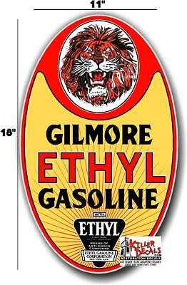 """GILM-2 24/"""" GILMORE RACE CAR GASOLINE OIL VINYL DECAL FOR GAS PUMP LUBESTER"""