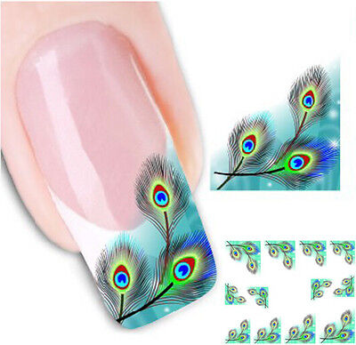 New Hot Bule Peacock Feather Nail Wraps Water Transfers Stickers Decals Nail Art