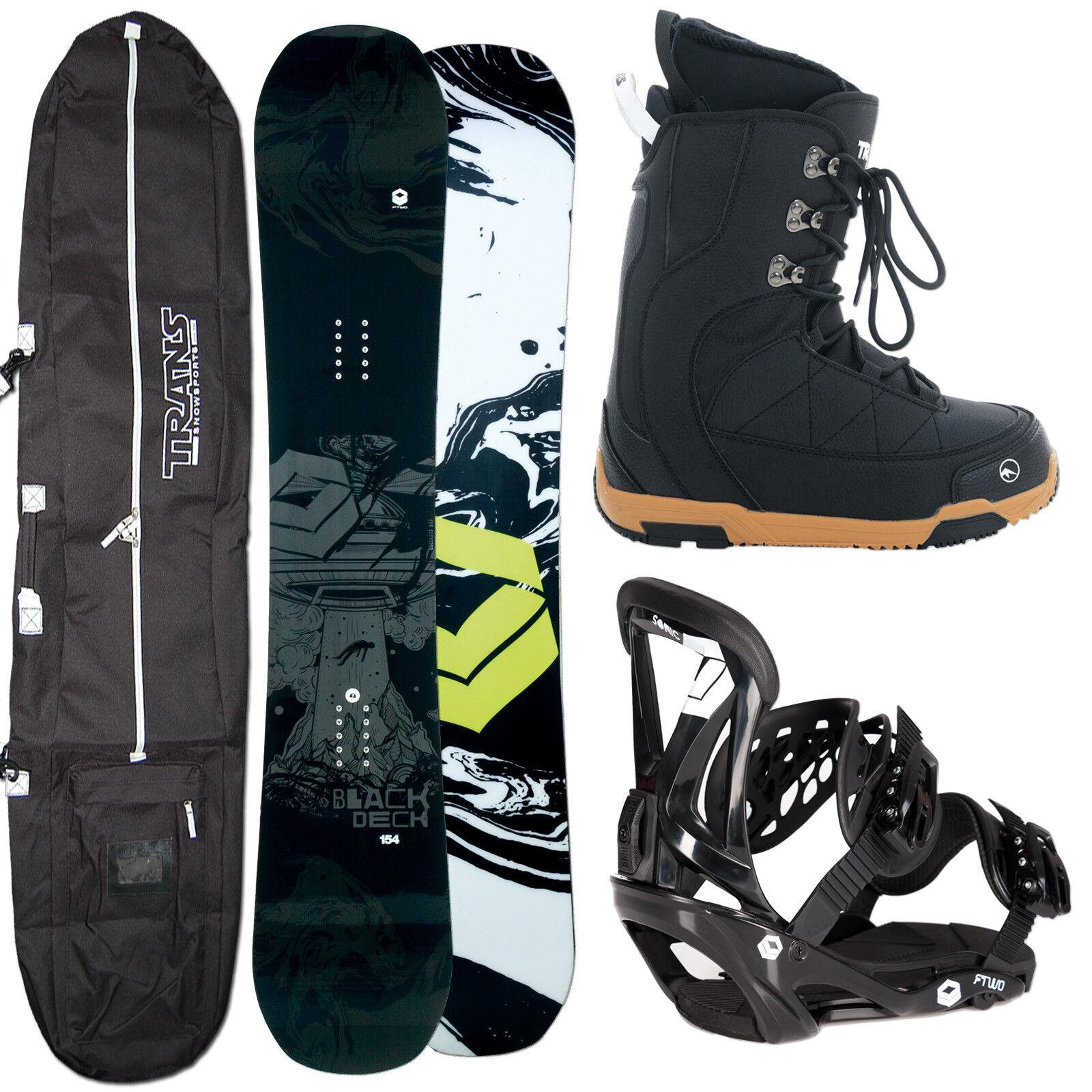 HERREN SNOWBOARD FTWO schwarzDECK 150 CM + FTWO SONIC BINDUNG M + Stiefel + BAG