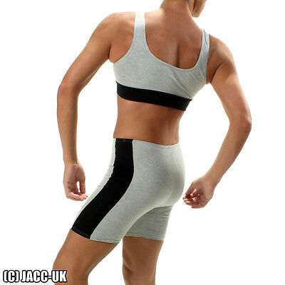 Nouveau Homme Lycra Crop Training Top /& Shorts Set Gym Course Sport Fitness int.VG306.