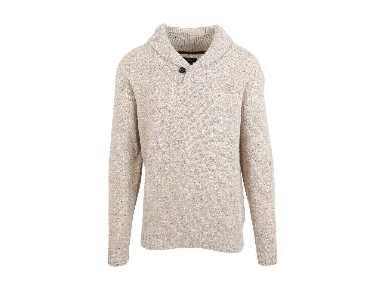 Gant Herren Pullover Sweater Jumper Größe 2XL Lammwolle & Nylon Beige