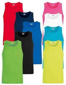 0daf667f5d505 Fruit Of The Loom Mens Performance Plain Rounded Neck Tank Tops ...