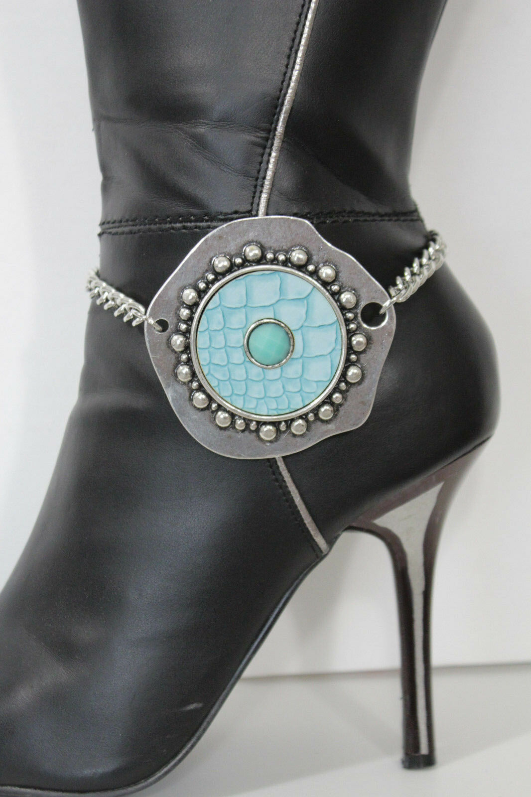 Women Western Boot Bracelet Silver Metal Chains Anklet Shoe Turquoise Blue Charm