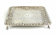 S. Kirk & Son Coin Silver Square Tray in Repousse c1890 Raised Floral Design