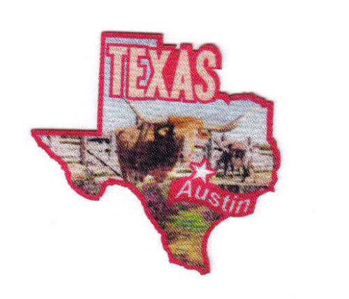 """/""""AUSTIN TEXAS/""""  State Shape Capitol City Iron On Printed Patch"""
