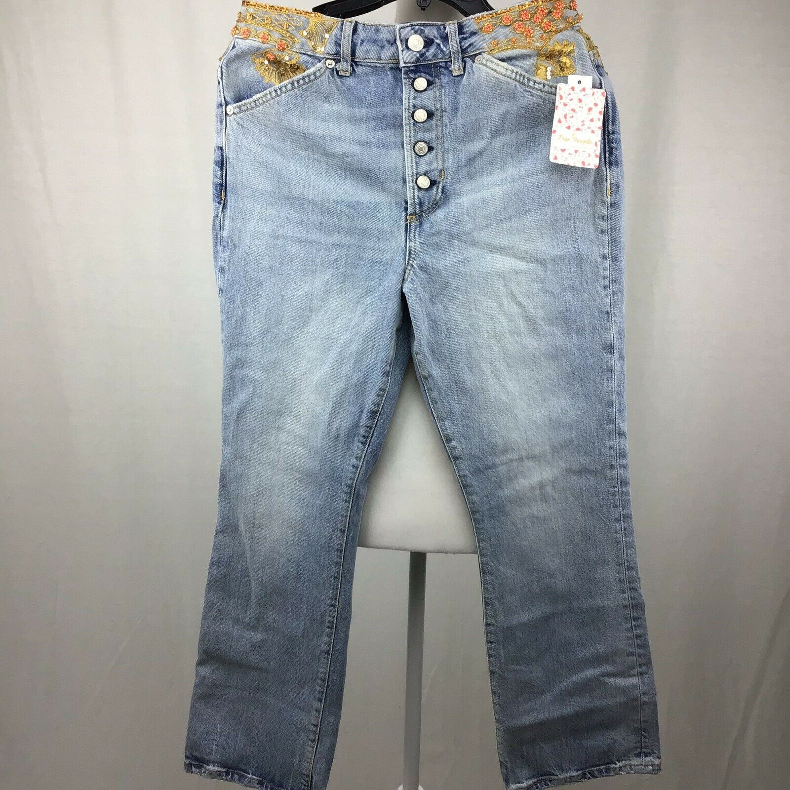 Free People Ripped Embellished Button-Fly Women Jeans bluee Size 29 B0067