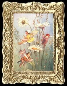 GARDEN FAIRIES Dollhouse Picture FRAMED Art Miniature - MADE IN AMERICA