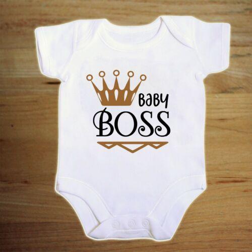 BABY BOSS with crown   BABY VEST bodysuit vest BIB boys girls