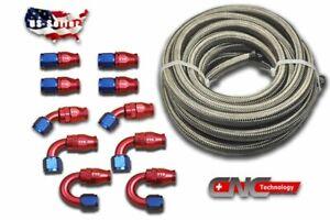 20FT-AN8-Stainless-Steel-PTFE-Fuel-E85-10-Fittings-Hose-Ethanol-Swivel
