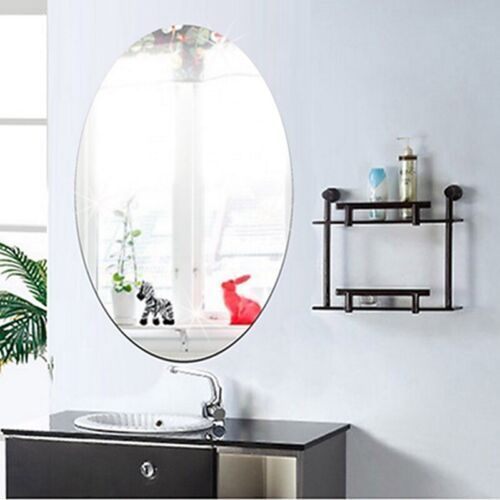 DIY Mirror Wall Sticker Rectangle Oval Removable Stickers Decal Home Art Decor
