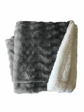 Plush Fleece Sherpa Backed Reversible Throw Blanket Ultra-soft Warm 130X160cm