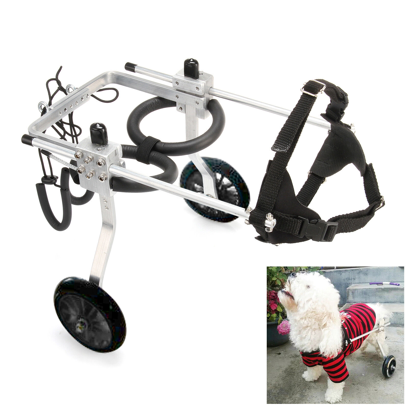 Large Dimensione Light Aluminum Alloy Pet Dog Wheelchair for Handicapped Hind Legs