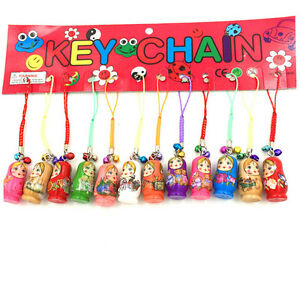 12X-Charm-Key-Chains-Hand-Painted-Wood-Matryoshka-Russian-Dolls-Kids-Gift