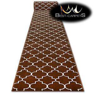 Modern Hall Carpet Runner Bcf Base Brown Trellis Stairs 60