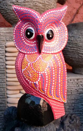 Chouette mexicaine hibou rose en bois sculpté et peint 17 cm artisanat ethnique