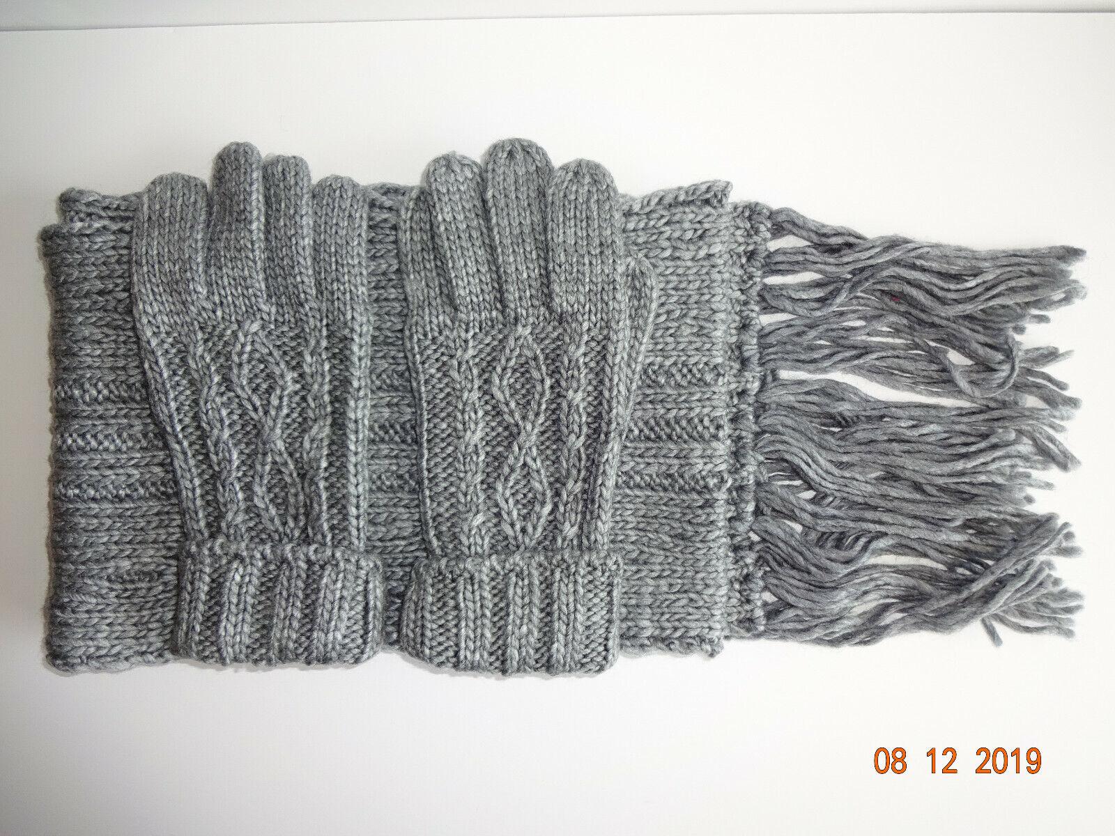 3 Piece Vintage Scarf & Gloves Set 1980s Shopko Womens Grey Acrylic Wool Taiwan