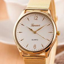 Geneve Luxus Damen Casual Armbanduhren Gold Edelstahl Analog Quarz VogueUhren
