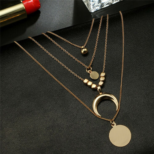 Multilayer Choker HornLong Crescent Moon Pendant Necklace Chain Jewelry Women 6H