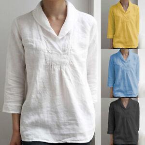 ZANZEA-8-24-Women-V-Neck-3-4-Sleeve-Cotton-Linen-Top-Shirt-Tee-Plus-Size-Blouse