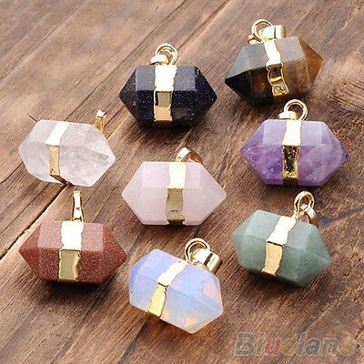 Hot Hexagon Crystal Quartz Stone Healing Reiki Chakra Gems Pendants For Necklace