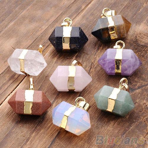 Hexagon Crystal Quartz Healing Point Reiki Chakra Gems Pendant or Necklace Chain