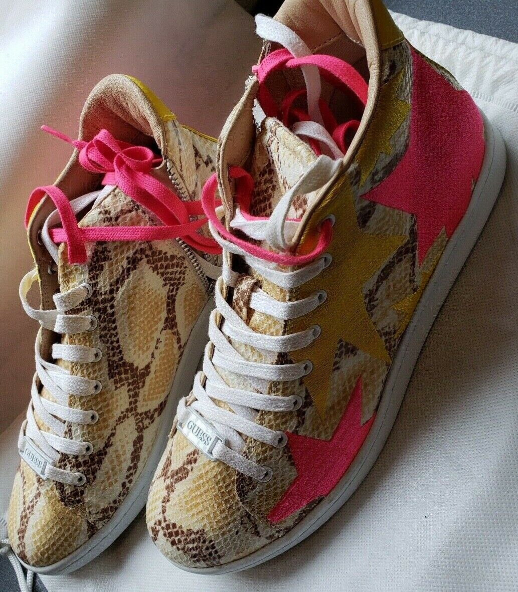 NEW Guess Python Print giallo giallo giallo and rosa Stars High Top scarpe da ginnastica Dimensione EU39 US9 cf4e4f