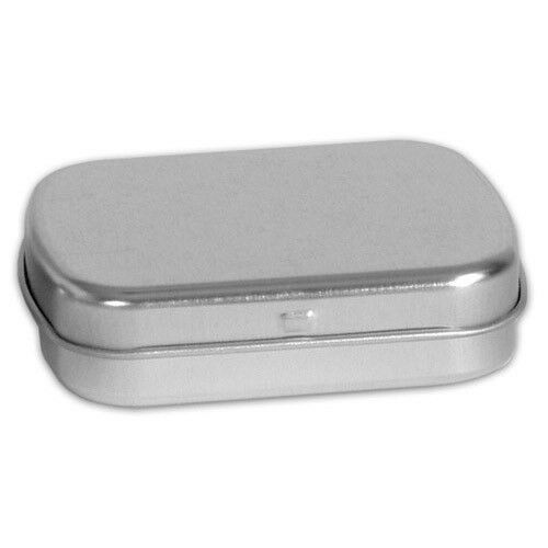 """2 1//2/"""" x 2/"""" Rectangular Hinged Tin Containers 12  NEW  Spices Beads"""