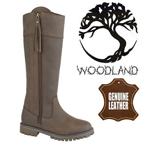 Woodland-Bailey-Women-039-s-Riding-Boots-Brown-Leather-Equestrian-Waterproof-Boots