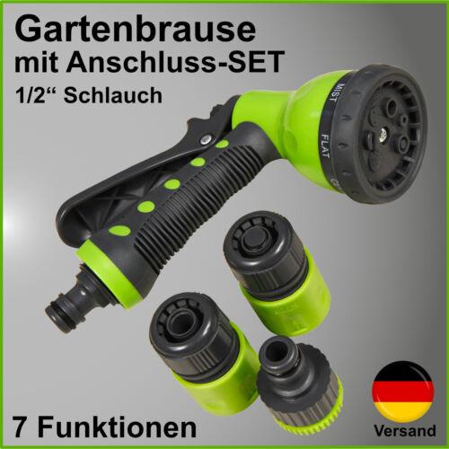 .Set Gartenbrause Sprühkopf Düse Schlauchaufsatz Gartenspritze mit Anschluss-SET