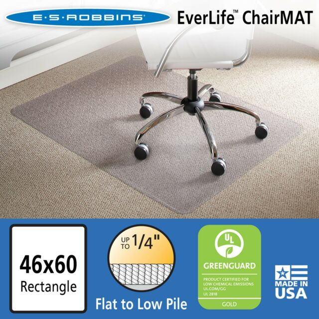 ES Robbins Chair Mat for Flat/Low Pile Carpet 46  x 60  No  sc 1 st  eBay & ES Robbins Chair Mat for Flat/low Pile Carpet 46 X 60 No Lip Clear ...