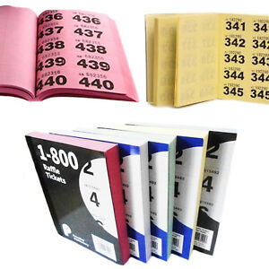 Raffle-Books-Colour-1-800-Tickets-Duplicate-Numbered-Bingo-Cloakroom-Draw-Ticket