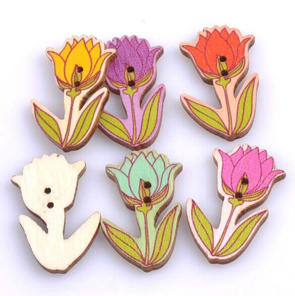 Flowers Tulip Rosette Wooden Buttons Sewing Scrapbooking Exquisite 2Holes 40mm