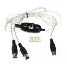 USB IN-OUT MIDI Interface Kabel Konverter PC auf Music Keyboard Adapter Cord Neu