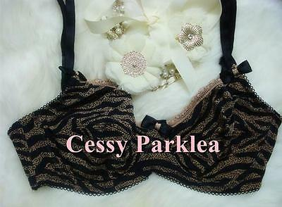 "Euro /"" BON/'A PARTE/""  Leopard Strip Print Non-Padded Stretchy  Cups Wire Bras"