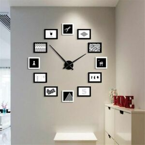 12 Photo Frames Nordic Style Diy Wall Clock Modern Design Wood Photo