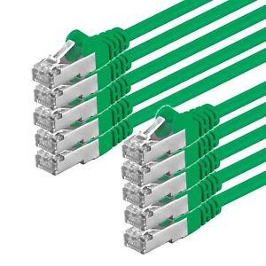 10-Piece-CAT5-Cable-Sf-UTP-Patchkabelnetzwerk-Ethernet-Lan-10x-Green-0-25m