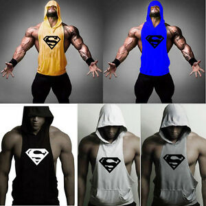 Men-039-s-Gym-Bodybuilding-Stringer-Hoodie-Tank-Top-Muscle-hooded-Shirt-Superman